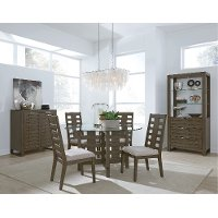 Contemporary Gray 5 Piece Dining Set with Round Table - Havana
