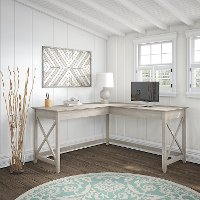 Washed Gray L Shaped Desk - Key West