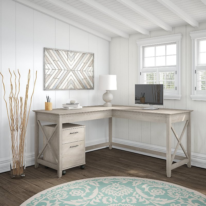 Washed Gray L Shaped Desk with Mobile File Cabinet - Key West