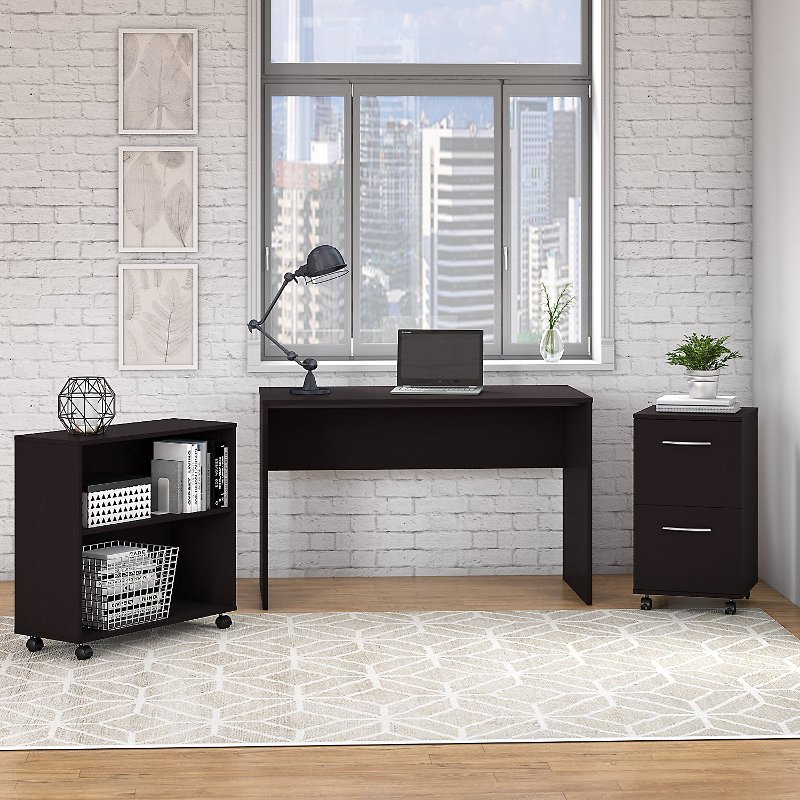 Espresso Oak Small Desk with Mobile File Cabinet and Bookcase.