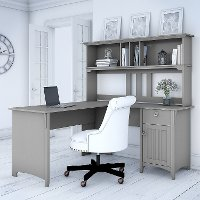 Cape Cod Gray L Shaped Desk with Hutch - Salinas