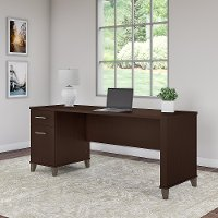 Mocha Cherry Office Desk with Drawers - Somerset