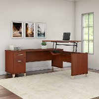 Hansen Cherry 3 Position Sit to Stand L Shaped Desk - Somerset