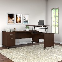 Mocha Cherry 3 Position Sit to Stand L Shaped Desk - Somerset