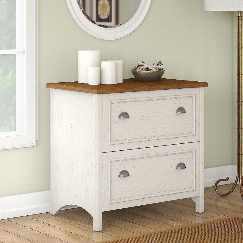 Antique White and Tea Maple 2 Drawer Lateral File Cabinet - Stanford