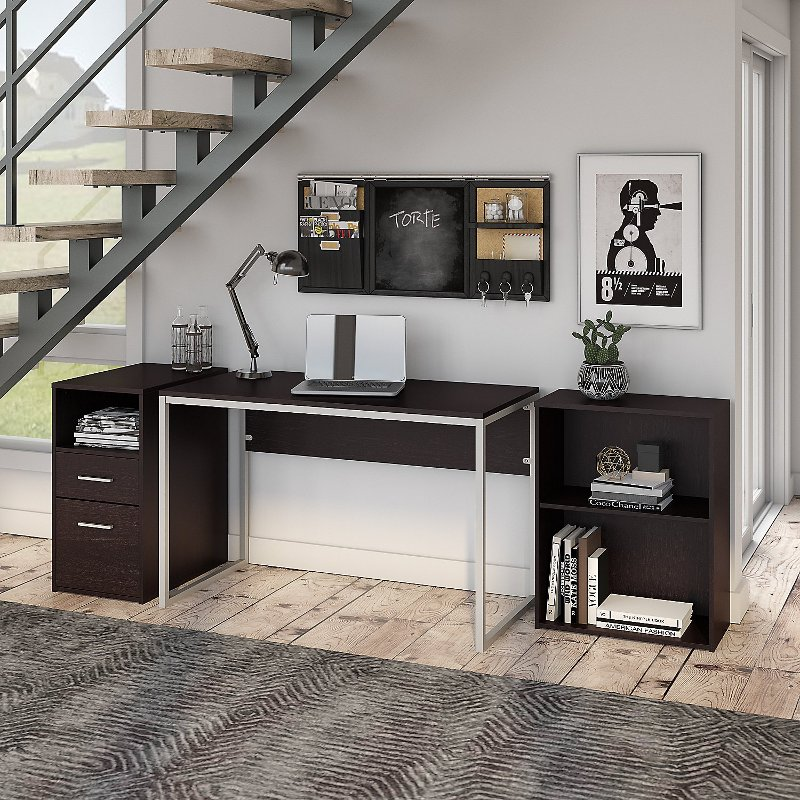 Espresso Oak Computer Desk with File Cabinet and Bookcase - Torte