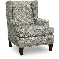 Taupe and Blue Wingback Chair with Silver Nail Head Detailing