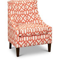 Transitional Coral and Cream Club Accent Chair - Devin