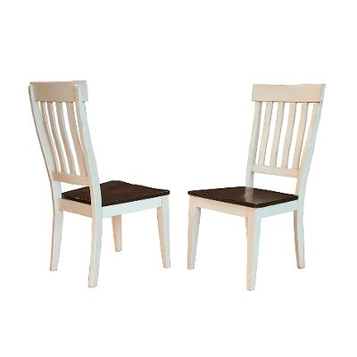 TOL-CH-2-35-K Farmhouse White and Brown Slat Back Dining Room Chairs - Toluca