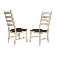 TOL-CH-2-75-K Farmhouse White and Brown Ladder Back Dining Room Chair - Toluca