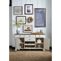 Farmhouse White and Brown Dining Room Server - Toluca