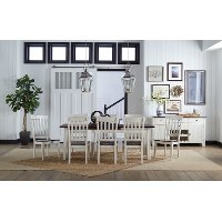 Farmhouse White and Brown 5 Piece Dining Set with Slat Back Chairs - Toluca