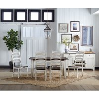 Farmhouse White and Brown 5 Piece Dining Set with Ladder Back Chairs - Toluca
