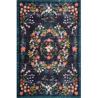 PAL-03RP-BLK/MULIT-5X7.6 5 x 8 Medium Black, Blue, and Coral Area Rug - Palais