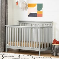 11851 Contemporary Gray Crib with Toddler Rail - Cotton Candy
