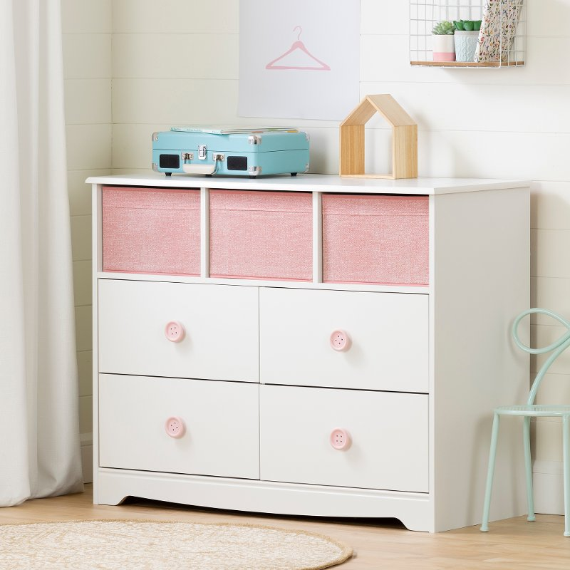 White and Pink Dresser with Storage Baskets - Sweet Piggy