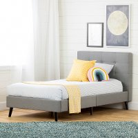 12119 Contemporary Gray Twin Upholstered Platform Bed - Fusion