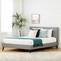 12121 Contemporary Gray Queen Upholstered Platform Bed - Fusion