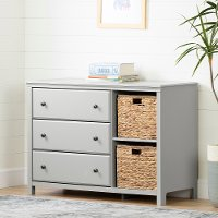 12138 Classic Gray 3 Drawer Dresser with Baskets - Cotton Candy