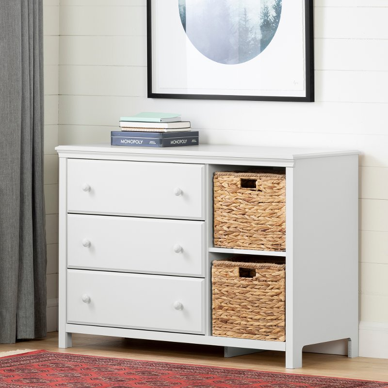 Clic White 3 Drawer Dresser With Baskets Cotton Candy