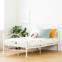 12154 Traditional White Twin Metal Bed - Country Poetry
