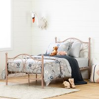 12157 Traditional Pink Twin Metal Bed - Country Poetry