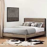 12322 Weathered Oak Full Platform Bed with Headboard - Munich