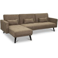 Cozy Chestnut Brown Convertible Sectional Sofa Bed with Chaise - Jenna