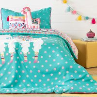 100356 Festive Llama Turquoise 5 Piece Twin Bedding Set - DreamIt