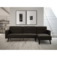 Cozy Granite Gray Convertible Sectional Sofa Bed with Chaise - Jenna