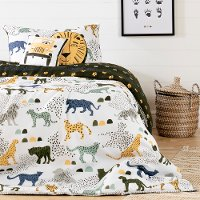 100363 Safari White and  Green 5 Piece Twin Bedding Set - DreamIt