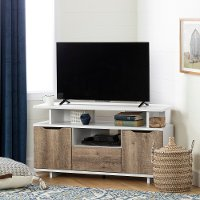 12209 Pure White and Weathered Oak Corner TV Stand - Reflekt