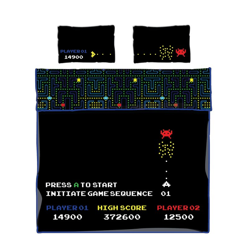 Video Game Black Full Comforter and Pillowcases - DreamIt