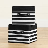 100380 Black and White Striped Canvas Baskets, 2 Pack - Storit