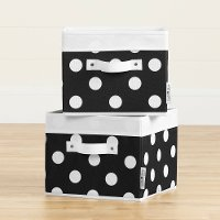 100381 Black and White Polka Dot Canvas Baskets, 2 Pack - Storit