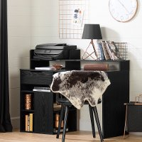 12222 Black Oak Desk with Hutch and Storage - Holland