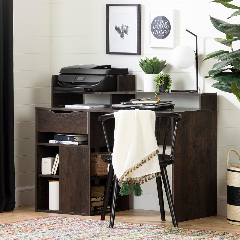 Brown Oak Desk with Hutch and Storage - Holland