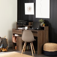 12224 Natural Walnut Desk with Hutch and Storage - Holland