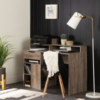 12286 Weathered Oak Desk with Hutch and Storage - Holland