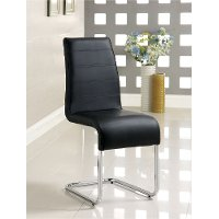 Modern Black and Chrome Dining Room Chair - Mauna