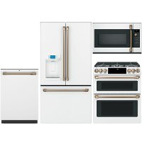 KIT Cafe 4 Piece Gas Kitchen Appliance Package with French Door Refrigerator - White