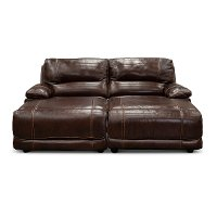 Burgundy Leather-Match Reclining Double Chaise Sofa - Brant