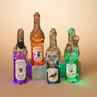 Assorted 12 Inch Lighted Glass Halloween Bottle with Timer