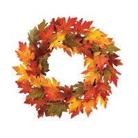 24 Inch Multi Color Maple Leaf Wreath with Gold Glitter