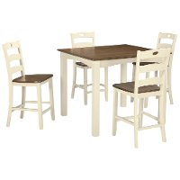 White and Brown 5 Piece Counter Height Dining Set - Woodsville