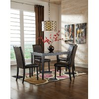 Transitional Brown and Black 5 Piece Dining Set - Kimonte