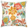 White and Multi Color Floral Indoor-Outdoor Throw Pillow