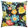 Black and Multi Color Floral Indoor-Outdoor Throw Pillow