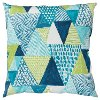 Blue and Green Diamond Indoor-Outdoor Throw Pillow