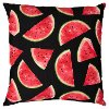 Clearance Watermelon Outdoor-Indoor Throw Pillow on Black Background